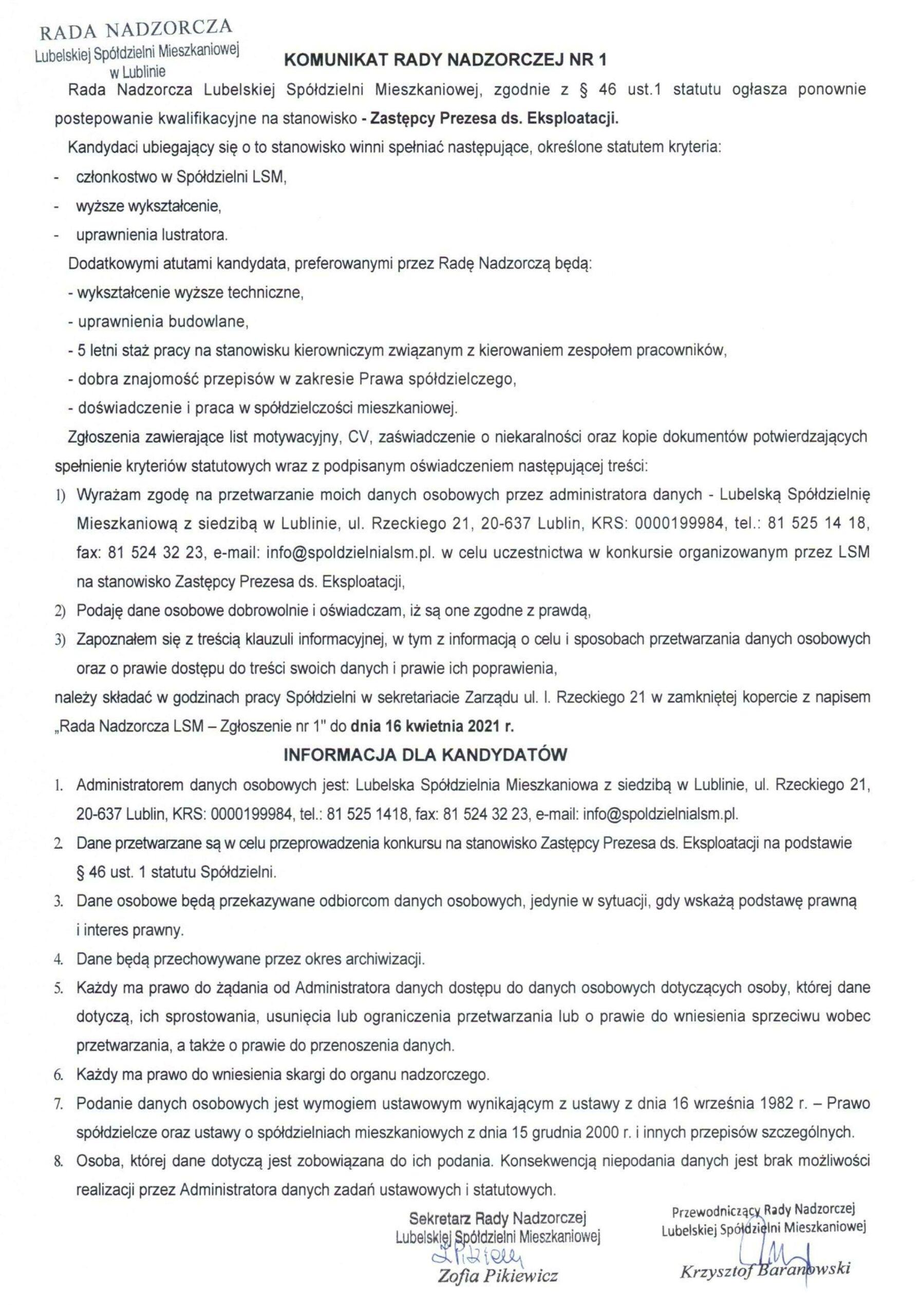 Komunikat Rady Nadzorczej LSM Nr1