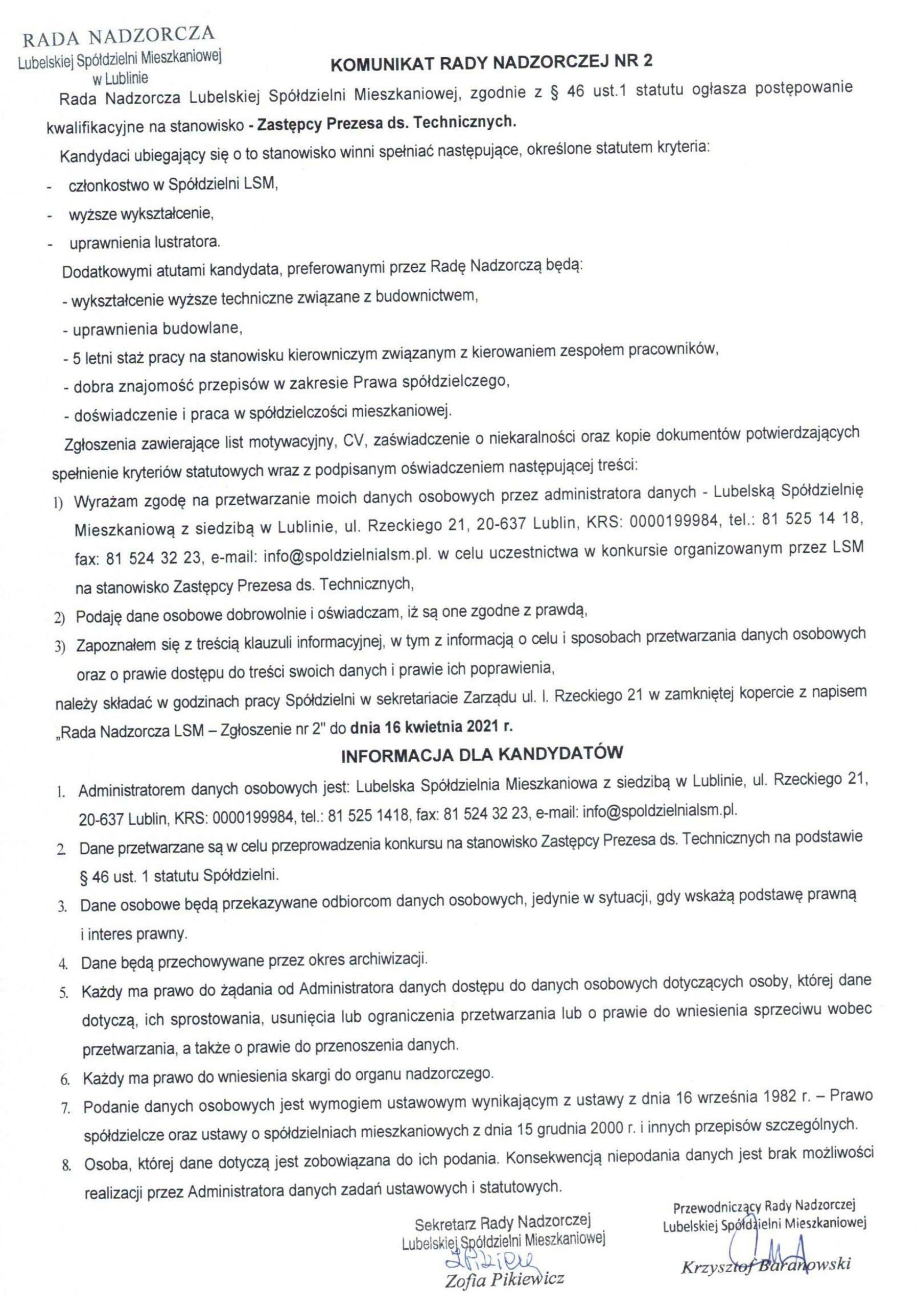 Komunikat Rady Nadzorczej  LSM Nr2